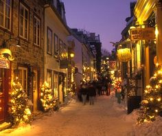 Best Places to Spend Christmas:   Quebec City. Why Go: Lit-up cobblestone streets, 16th- and 17th-century stone houses, and lots and lots of snow make Quebec's 400-year-old walled city an atmospheric and European-like place to be at Christmas. Quebec's good cheer and great food could make you remember you love winter after all.    Where to Stay: Housed in former 19th-century stone warehouse in Vieux-Port, Auberge St. Antoine stands out for the perfection with which it juxtaposes old and new. Soaring ceilings and cast-iron beams are complemented with such amenities as heated stone floors, and artifacts unearthed during its renovation are on display throughout. Doubles from $209.    Holiday Dinner: Serving traditional Québécois cuisine based on 17th-century French recipes, Aux Anciens Canadiens is offering its main menu on Christmas Day from 5 p.m. Appetizer highlights include foie gras au torchon on a baguette and scallops and prawns in a white-wine sauce, while entrées run the gamut from a vegetable terrine to filet mignon of wild caribou. (Prix fixe $36-$79, depending on the main course, or à la carte.)    Stocking Stuffers: Step back in time with a visit to Maison Jean-Alfred Moisan grocery, a 140-year-old Vieille Quebec mainstay. For Québécois clothes, try La Maison Simons department store, and for hand-wrought ceramics, Boutique Pauline Pelletier is a good bet.