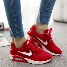 Trendy Sneakers 2018 Cheap Women's Fashion Sneakers, Buy Directly from China Air Women Sneakers Sport Shoes Zapatos Mujer Women Shoes Huarache Sneakers Chaussure Femme Huraches Please mak – Go to Source – Sneakers Smart Casual, Sneakers Mode, Nike Sneakers, Casual Shoes, Red Sneakers, Nike Flats, Casual Outfits, Nike Trainers, Nike Free Shoes