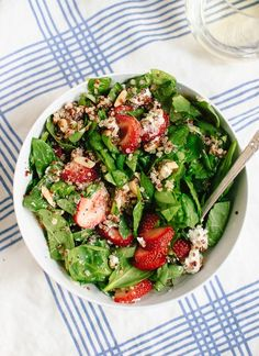 Gluten-free summer salad with strawberries, spinach, quinoa, almonds and goat cheese (now for sale on Plated!) - http://cookieandkate.com