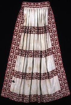 Italy Apron, 17th century Linen, plain weave; pulled thread work with silk floss in two-sided Italian cross stitch; inside waistband gathered by feather, running, and back filling stitches; edged in silk, warp twining with ground weft fringe, attached by buttonhole and detached buttonhole stitches 98.6 x 87.7 cm (38 3/4 x 34 1/2 in.) Restricted gift of the Needlework and Textile Guild, 1976.332