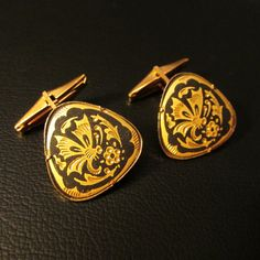 Gorgeous Gold and Black Damascene Cuff Links with Butterfly and Floral Design by DresdenCreations