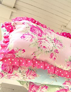 Joyfully gorgeous pink floral patterned shabby chic, super cute pillows.