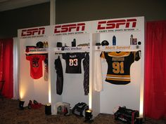 Sports themed Bar MItzvah at Temple Emanuel Andover included a custom locker room, centerpieces, Glo Bar and draping by The Prop Factory, via Flickr