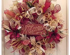 Bienvenida Lily Deco malla guirnalda/diario bienvenida guirnalda/Borgoña bienvenida Lily bienvenida y corona guirnalda/verano corona/guirnalda de lirios