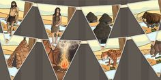 Stone Age Bunting - stone age, bunting, display, flags, history - twinkl