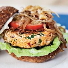 Michelle's Turkey Burgers with Lemon Mayonnaise | Spike Mendelsohn created this healthy burger for First Lady Michelle Obama. He serves it with Swiss cheese and calls it the Michelle Melt.