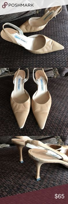 Manolo Blahnik tan slingback leather heel Gorgeous pre-worn camel/tan color sling back. Feature elastic strap for ease of wear.  Lots of life left! Difficult to find Manolo's in this size. 42 European. They fit a bit small. Could fit a size 9 1/2 or 10. Buttersoft. Manolo Blahnik Shoes Heels