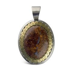 Carolyn Pollack Sterling Silver, Brass and Pietersite Hinged Enhancer