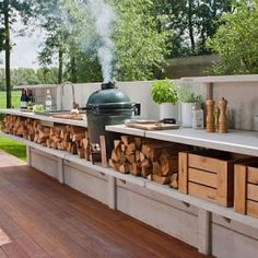 Garden Alfresco Barbecue At The Garden Terrace The Glass: Tuinontwerp Of Tuinarchitect? Wij Ontwerpen Tuinen Om In Modular Outdoor Kitchens, Bbq Kitchen, Summer Kitchen, Outdoor Kitchen Design, Kitchen On A Budget, Kitchen Ideas, Outdoor Spaces, Table Plancha, Bbq Island