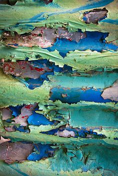 texture color beauty / Andrew Bradsworth, peeling paint on corrugated iron Patterns In Nature, Textures Patterns, Color Patterns, Art Grunge, Foto Macro, Peeling Paint, Color Inspiration, Colours, Photos