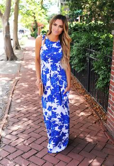 Royal Floral Maxi Dress