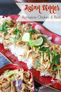 Asian Dinner Rotisserie Chicken & Rice ~The Plaid & Paisley Kitchen~ This super simple meal can be on the table in 30 min or less! Full of great flavor and quite healthy to boot!