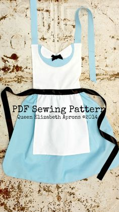 ALICE in Wonderland Disney Princess inspired Child Costume Apron PDF sewing PATTERN. Girls sizes 2-8 Dress up Birthday Tea Party Onederland