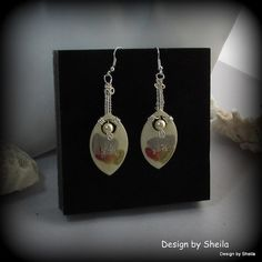 Hand Painted Earrings Sugar and Cream by DesignbySheila on Etsy