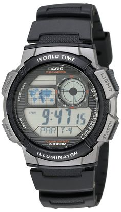 Amazon.com: Casio Men's AE1000W-1BVCF Silver-Tone and Black Digital Sport Watch with Black Resin Band: Casio: Watches