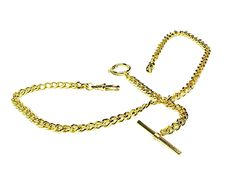 Gold Double Albert Pocket Watch Chain with Toggle T-Bar and Ring
