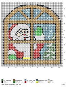 SANTA WINDOW by WANDA K. -- WALL HANGING