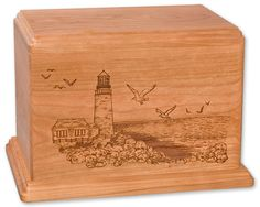 Wooden Cremation Urn - Lighthouse on the Bay