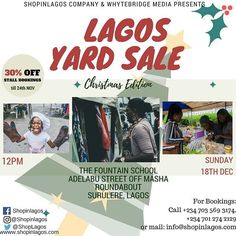 Early Bird Registration for the Christmas Edition of the #LagosYardSale Lifestyle Exhibition has begun  -------------------- DISCOUNT 30% OFF AS RETURNING VENDORS 20% OFF NEW VENDORS Till 24th November 2016 -------------------- Simply Call 0703 569 3174 07012742129 or mail info@shopinlagos.com to book a stall.  Hurry Now!!! Limited Slots Available!!!!! #Shopinlagos #buynigerian #discountsales #lifestyleexhibition #buynaijatogrowthenaira #madeinnigeria #lagosliving #gidimercato #lagosmarket…