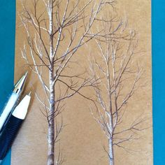 #secretlifeoftrees, experimenting with white gel pen on brown paper