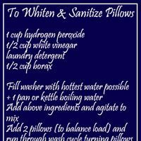 How to whiten yellowed pillows - The DIY Girl 1 C. hydrogen peroxide 1/2 C. Vinegar Laundry detergent 1/2 C. Borax