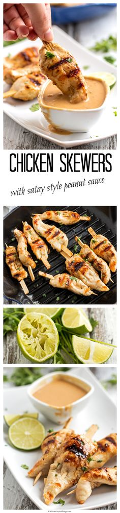Chicken Skewers with Satay Style Peanut Sauce recipe - These easy grilled skewers with peanut dip are absolutely perfect as a game day snack! Everyone's favorite appetizer (or make a healthy meal out of it and serve them with salad for dinner! Grilled Skewers, Chicken Skewers, Chicken Tenders, Skewer Recipes, Appetizer Recipes, Dinner Recipes, Barbecue, Grilling Recipes, Cooking Recipes