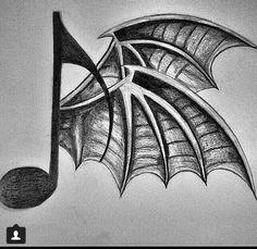 Avenged Sevenfold Death Bat Wing Music Note Tattoo