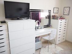 My make up storage/vanity/bedroom tour-  Expat Make Up Addict-make up storage ideas-ikea malm dresser