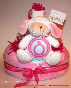 Torta Rosa Agnellino con lucina copertina e body di cotone