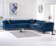 Candela Modern Fabric Corner Sofa In Blue Velvet With Wooden Legs, this stunning and elegant sofa will leave a lasting impression into any home decor. Upholstered in sumptuous Blue velvet with an e. Corner Sofa Living Room, Living Room Sofa Design, Living Room Designs, Living Room Decor, Sofa Bed Corner, Velvet Corner Sofa, Blue Velvet Sofa, Velvet Furniture, Sofa Furniture