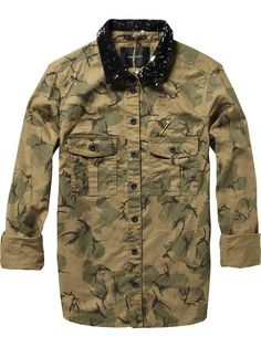 Army shirt with sequin collar - Maison Scotch