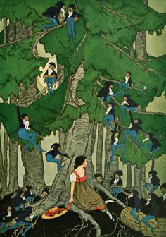 Stories 1922 They slid down the branches Canvas Art - Edna Cooke x