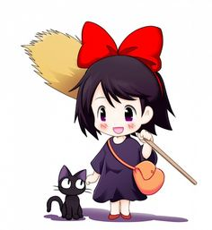 Cute SB versions of Jiji (the cat) & Kiki from the animated movie 'Kiki's Delivery Service'.