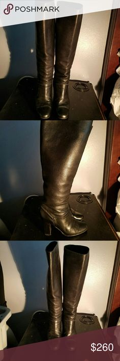 """CHLO? knee-high pull on black leather boots authentic Chlo? boots. very sophisticated and classy. 3.5"""" stacked heel. nice over stitching. round toe, fully lined in leather. Chloe Shoes Heeled Boots"""