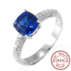 2.32ct Blue Sapphire Ring Pure Solid 925 Sterling Silver – Gemstonese