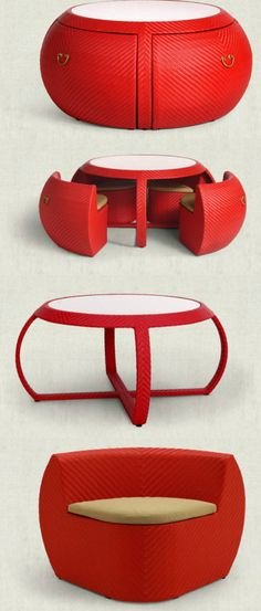 A special table and chair set, inspired by Chinese drum - LOVE this for a coffee table or play room