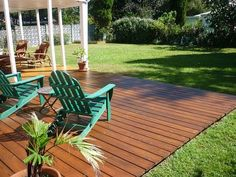 from dirt to deck - how to build a ground-level deck | the wolven ... - Wood Patio Ideas