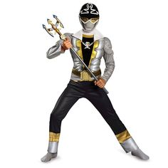 Power Rangers-Special Silver Super Megaforce Classic Muscle Boy's Costume