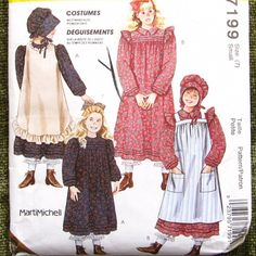 Girls Pioneer Dress Costumes -- Included dress with yoke and ruffled sleeve cap tuck detail at cuff and hem optional peter pan collar two aprons also included is pioneer bonnet Pioneer Costume, Pioneer Dress, Costume Patterns, Dress Patterns, Pioneer Clothing, Apron Pattern Free, Shabby Chic, 90s Girl, Costume Dress
