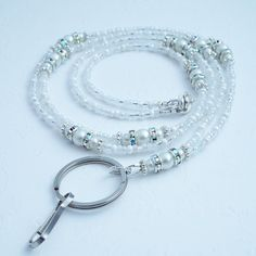 Beaded Lanyard White Pearls Crystal Rondelles by Plumbeadacious Beaded Jewelry, Unique Jewelry, Rose Jewelry, Jewellery, Staff Gifts, Beaded Bookmarks, Beaded Lanyards, Eyeglass Holder, Badge Holders