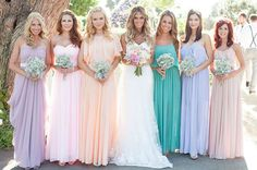 Multi colored brides maid dresses, spring ideas.