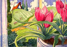 5X7 print A Bit of Captured Springtime Storybook Cottage Series/tulips/flowers