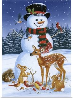 Snowman With Friends by William Vanderdasson Framed Art - Multi Christmas Scenes, Blue Christmas, Christmas Pictures, Christmas Snowman, Vintage Christmas, Christmas Crafts, Christmas Decorations, Christmas Ornaments, Christmas Ideas