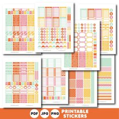 Orange pink and yellow printable monthly and weekly planner stickers kit, STI-399