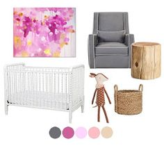 Little Baby Garvin: Nursery Plans for Baby Girl  Love the colour of this rocker and the idea of a pouffe for the ottoman!!!