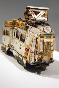 UNTITLED (Velp–Oosterbeek Trolley)/ Willem van Genk, c. 1980–2000, tin cans, cardboard, metal, paint, paper, and plastic,10 ½ x 23 ½ x 5 1/8 inches, collection Foundation Willem van Genk, Museum Dr. Guislain, Ghent, 21030245 Photo: Sam Fein