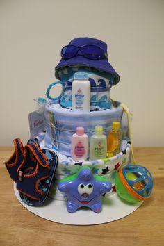 One of my diaper cakes.  Beach theme.
