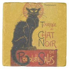 Shop Le Chat Noir Vintage Black Cat Art Nouveau Retro Card created by artfoxx. Kunst Poster, Poster Art, Poster Prints, Canvas Poster, Free Vintage Posters, Custom Posters, Poster Pink Floyd, Canvas Art, Canvas Prints