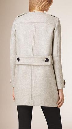 Pale grey melange Collarless Wool Blend Cocoon Coat - Image 3