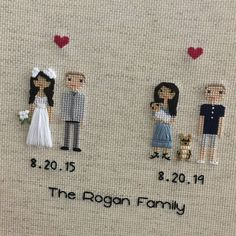 Anniversary Gift Cotton Family Portrait Then and Now Anniversary Gift Wedding Couple Linen Anniversary Present for Her Gift for wife for Cotton Anniversary Gifts, Anniversary Gifts For Couples, Anniversary Present, Anniversary Ideas, Homemade Wedding Gifts, Homemade Anniversary Gifts, Wedding Couples, Gift Wedding, Cross Stitch Family